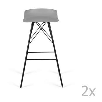 Set 2 scaune de bar Tenzo Tori, gri imagine