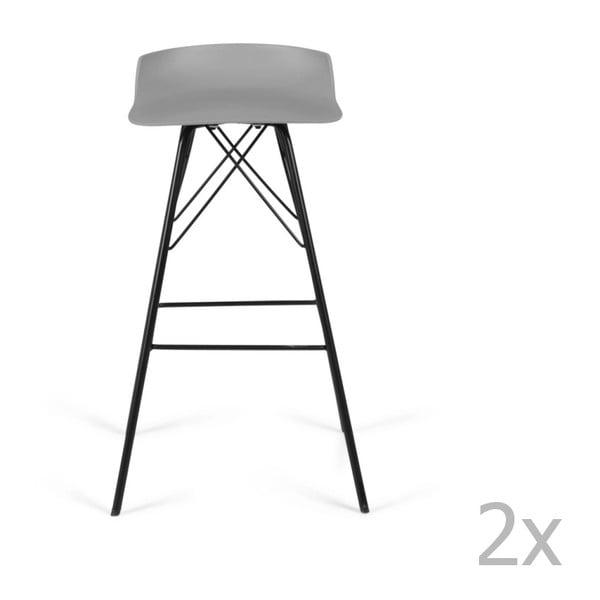 Set 2 scaune de bar Tenzo Tori, gri