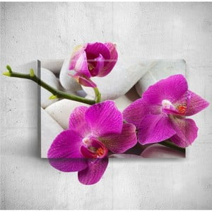 Nástěnný 3D obraz Mosticx Pebbles With Three Flowers, 40 x 60 cm