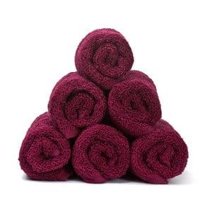 Sada 6 vínových bavlněných ručníků Casa Di Bassi Guest, 30x50cm