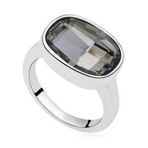 Prsten s černým krystalem Swarovski Uranium, velikost 52