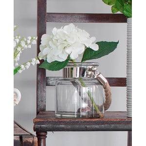 Skleněná váza s umělou květinou Hydrangea, 26 cm