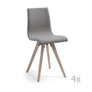 Set 4 scaune cu picioare de lemn La Forma Una, gri