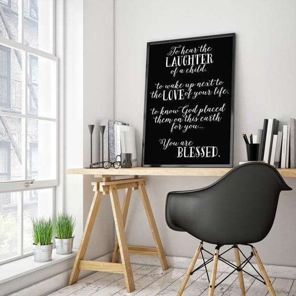 Plakát v dřevěném rámu Laughter, 38x28 cm