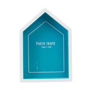 Modrý rám na fotografii ve tvaru plážové chaty Rex London Beach, 14x20cm