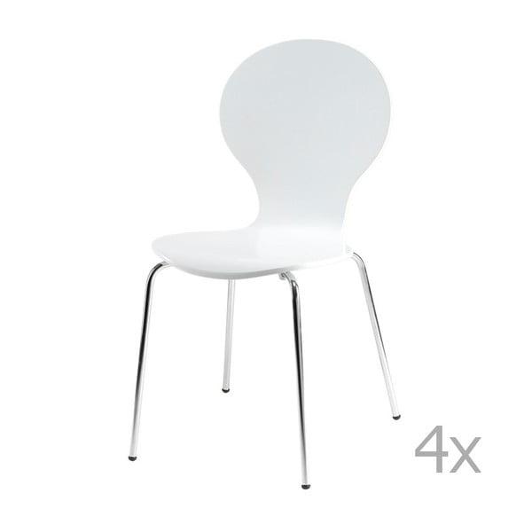 Sada 4 bílých jídelních židlí Furnhouse Rudi