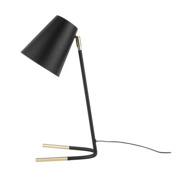 Czarna lampa stołowa z detalami w kolorze złota Leitmotiv Noble