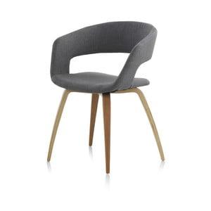 Dřevěná jídelní židle s šedým polstrováním Geese
