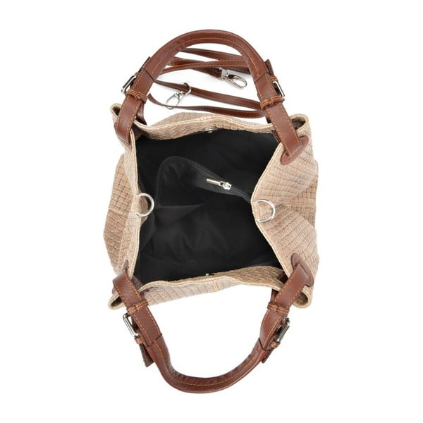 Hnědošedá kožená kabelka Isabella Rhea 858