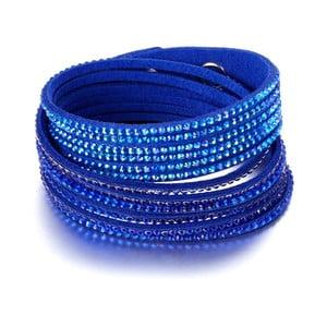 Tmavě modrý kožený náramek s krystaly Swarovski