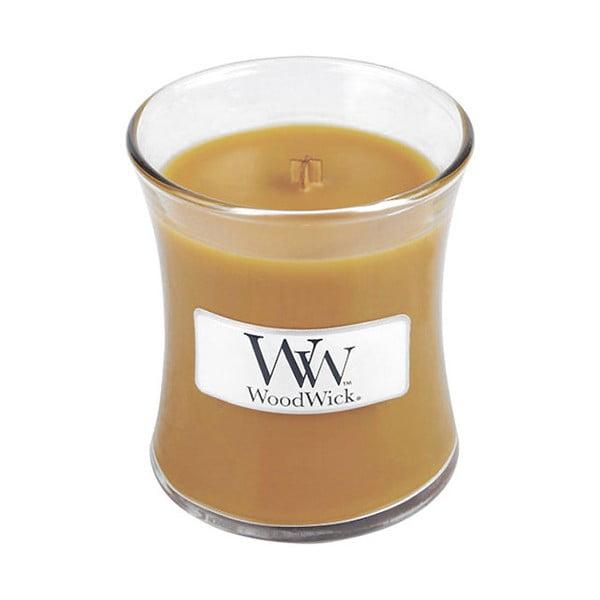 Svíčka s vůní skořice, muškátového oříšku a karamelu WoodWick Horký punč, dobahoření20hodin