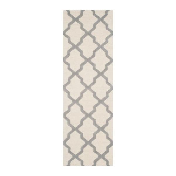 Vlněný koberec Ava 76x182 cm, bílý/šedý