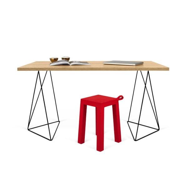 Pracovní stůl v dekoru dubového dřeva s černými nohami TemaHome Flow