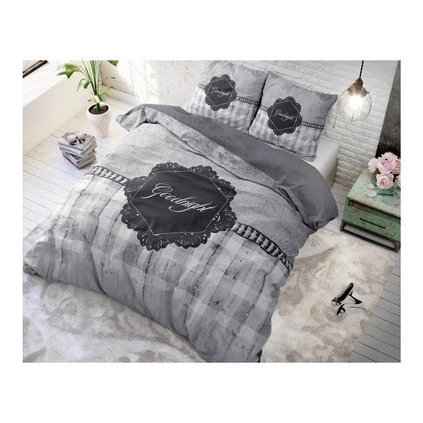 Šedé povlečení z mikroperkálu na jednolůžko Sleeptime Goodnight,140x220cm