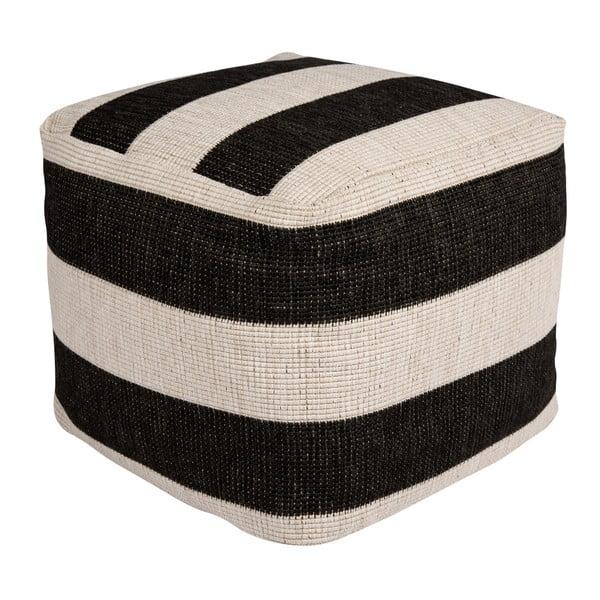 Dazzo fekete-fehér kültérre is alkalmas puff, 48 x 42 cm - Bougari