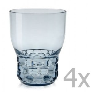 Sada 4 světle modrých sklenic Kartell Jellies, 300ml