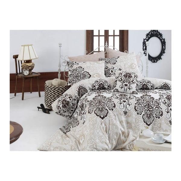 Lenjerie din bumbac ranforce pentru pat de o persoană Luxury Brown, 140 x 200 cm