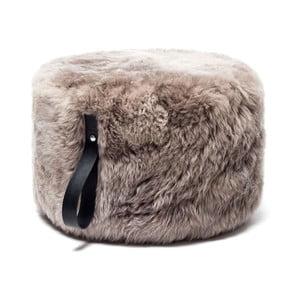 Světle hnědý puf z ovčí kožešiny s černým detailem Royal Dream,Ø60cm
