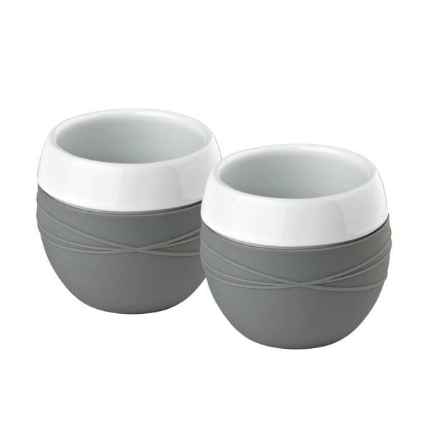 Sada 2 porcelánových hrnků se silikonem, šedá