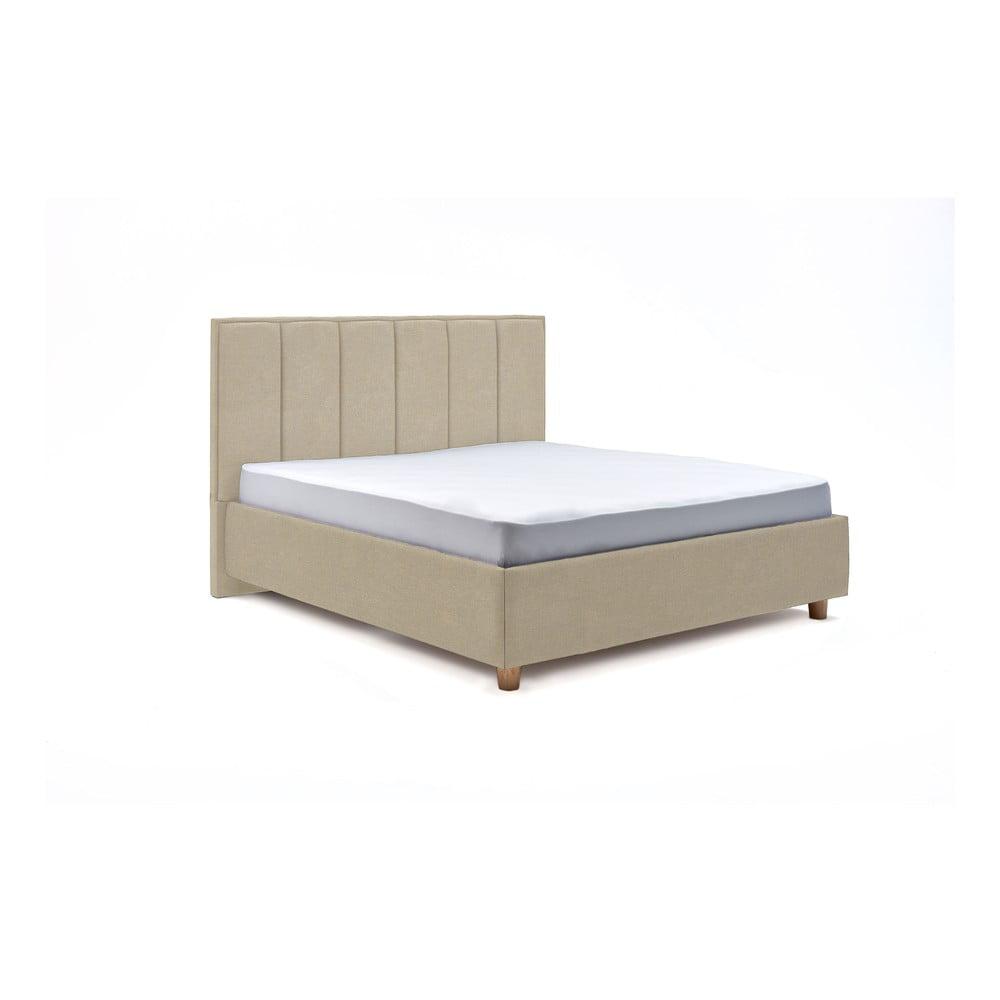 Béžová dvoulůžková postel s roštem a úložným prostorem ProSpánek Wega, 160 x 200 cm