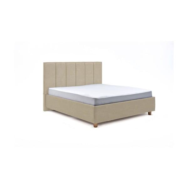 Béžová dvoulůžková postel s roštem a úložným prostorem ProSpánek Wega, 180 x 200 cm