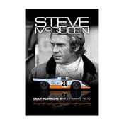 Plakát Steve McQueen mit seinem Porsche, 48x33 cm