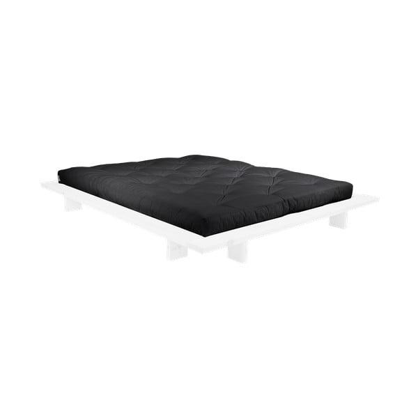 Pat dublu din lemn de pin cu saltea Karup Design Japan Comfort Mat White/Black, 140 x 200 cm