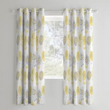 Set 2 draperii Catherine Lansfield Flora, 168 x 183 cm, galben imagine