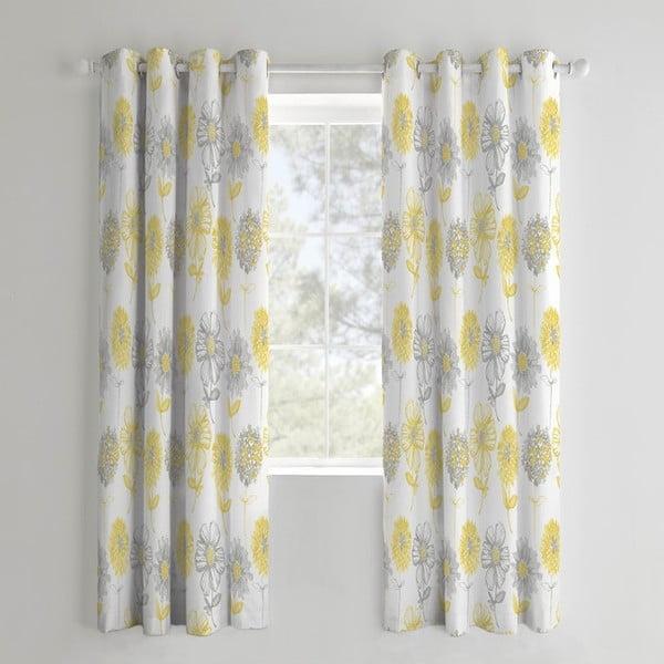 Set 2 draperii Catherine Lansfield Flora, 168 x 183 cm, galben