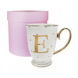 Písmenkový   hrnek E s růžovými puntíky