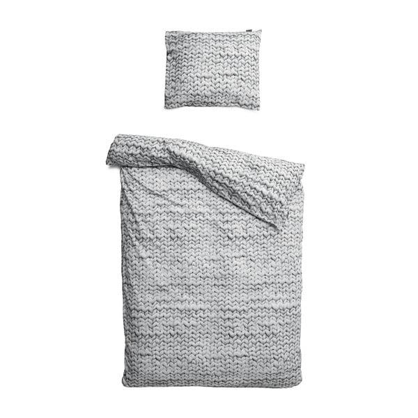 Lenjerie de pat de o persoană, din bumbac Snurk Twirre Grey, 140 x 200 cm