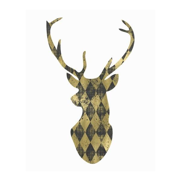 Plakát v dřevěném rámu Gold Deer, 38x28 cm