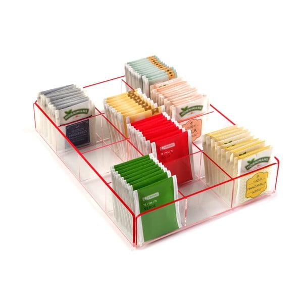 Červený úložný box s 12 přihrádkami Versa Ariel