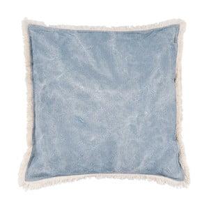 Modrý polštář Clayre & Eef Velvet, 45 x 45 cm