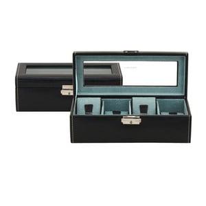 Černý box na čtvery hodinky Friedrich Lederwaren Bond