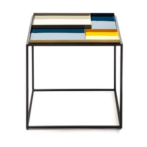 Modro-žlutý odkládací stolek s 2 tácy 360 Living Caira