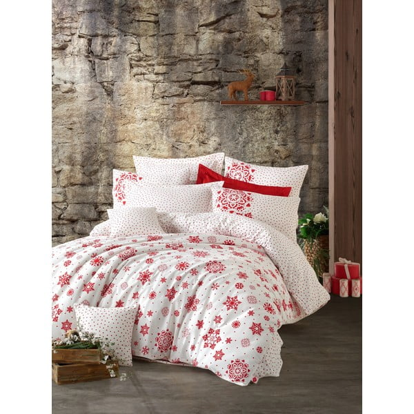 Lenjerie cu cearceaf pentru pat dublu, din bumbac ranforsat Cotton Box Snowflake Red, 200 x 220 cm