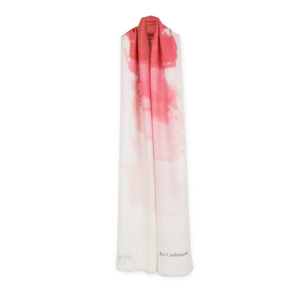 Bílorůžová kašmírová šála Bel cashmere Nina, 200 x 67 cm