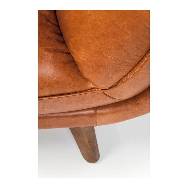 Koňakově hnědá kožená pohovka Kare Design Bruno
