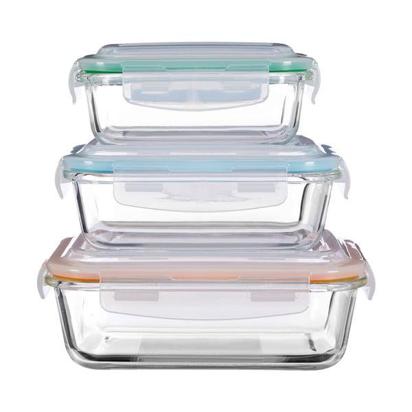 Sada 3 úložných sklenených boxov Premier Housewares Freska