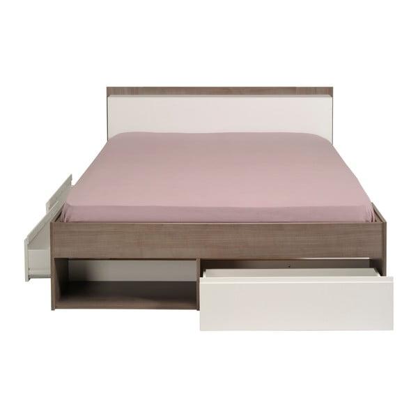 Dvoulůžková postel v dekoru ořechového dřeva se 3 zásuvkami Parisot Aubrée, 140x190-200cm