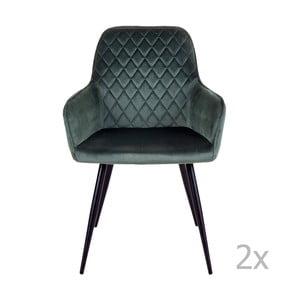 Sada 2 tmavě zelených jídelních židlí House Nordic Harbo