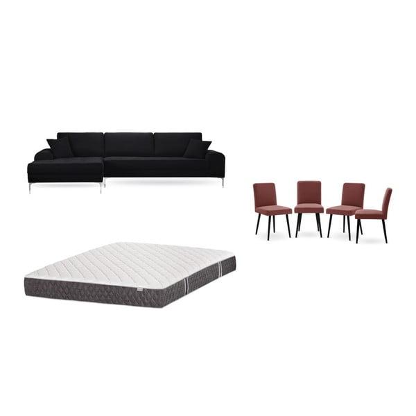 Set canapea neagră cu șezlong pe partea stângă, 4 scaune roșu cărămiziu și saltea 160 x 200 cm Home Essentials