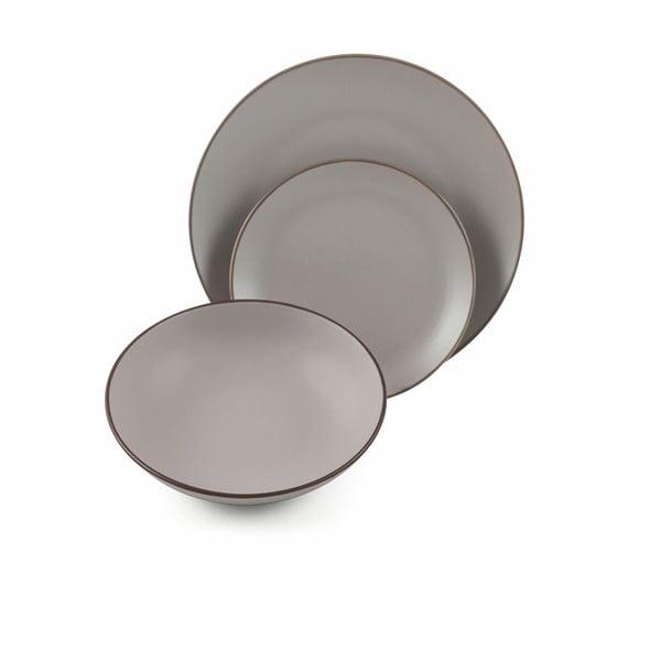 Sada 6 šedých jídelních talířů z kameniny Villad'Este Kora