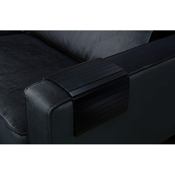 Cotieră flexibilă din lemn pentru canapea WOOOD Tray, negru