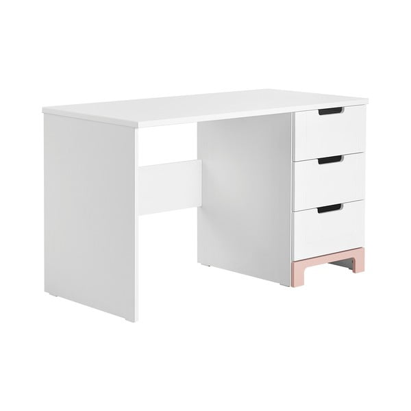 Bielo-ružový písací stôl Pinio Mini, dĺžka 120cm