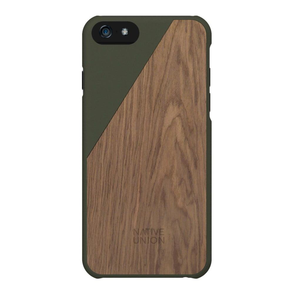 Tmavě zelený obal na mobilní telefon s dřevěným detailem pro iPhone 6 a 6S Plus Native Union Clic Wooden