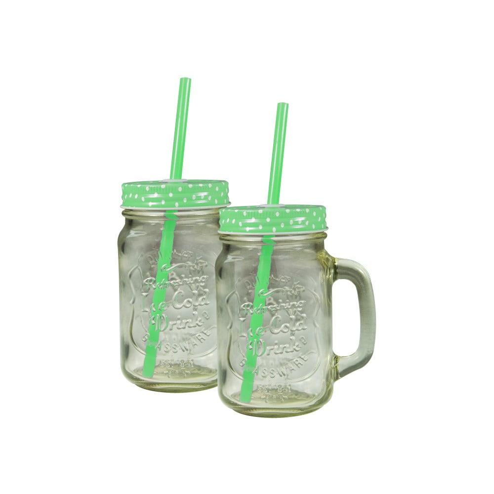 Sada 2 sklenic se zeleným krytem a brčkem JOCCA Straw, 430 ml