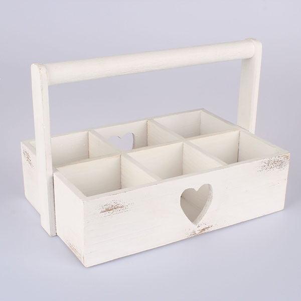 Dřevěná přepravka Heart, bílá