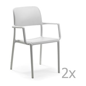 Sada 2 bílých zahradních židlí Nardi Riva